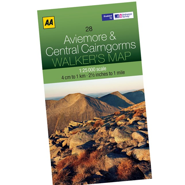 AA Aviemore and Central Cairngorm 1:25000 Walking Map
