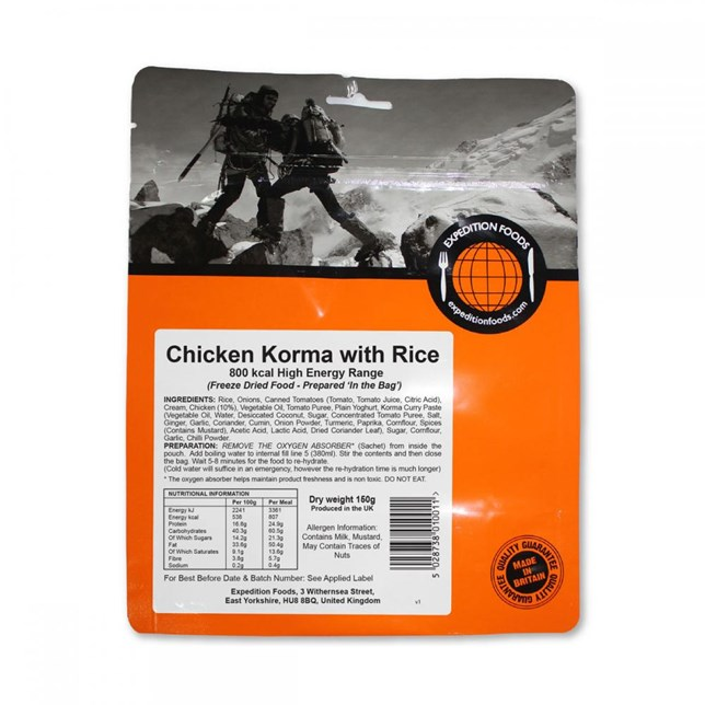 Expedition Foods - Chicken Korma with Rice - High Calorie Serving