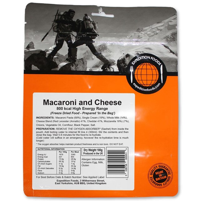 Expedition Foods - Macaroni Cheese - High Calorie Serving
