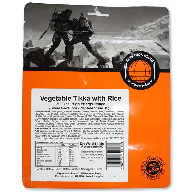 Expedition Foods - Vegetable Tikka - High Calorie Serving